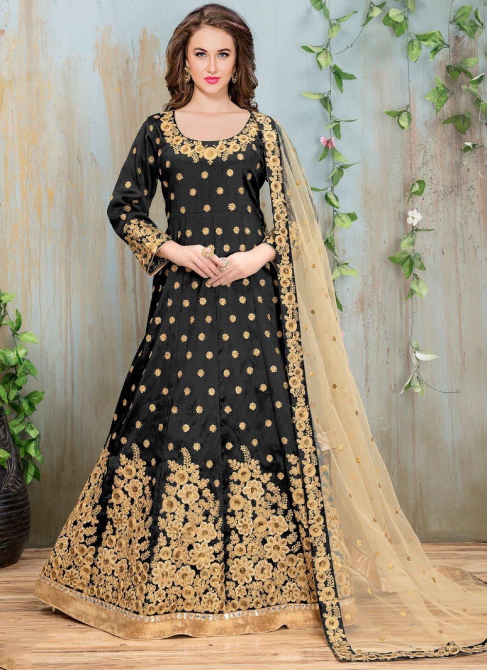 Black Color Floor Length Anarkali Salwar Suit