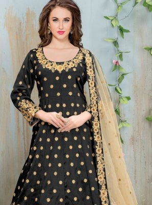 Black Color Floor Length Anarkali Salwar Suit