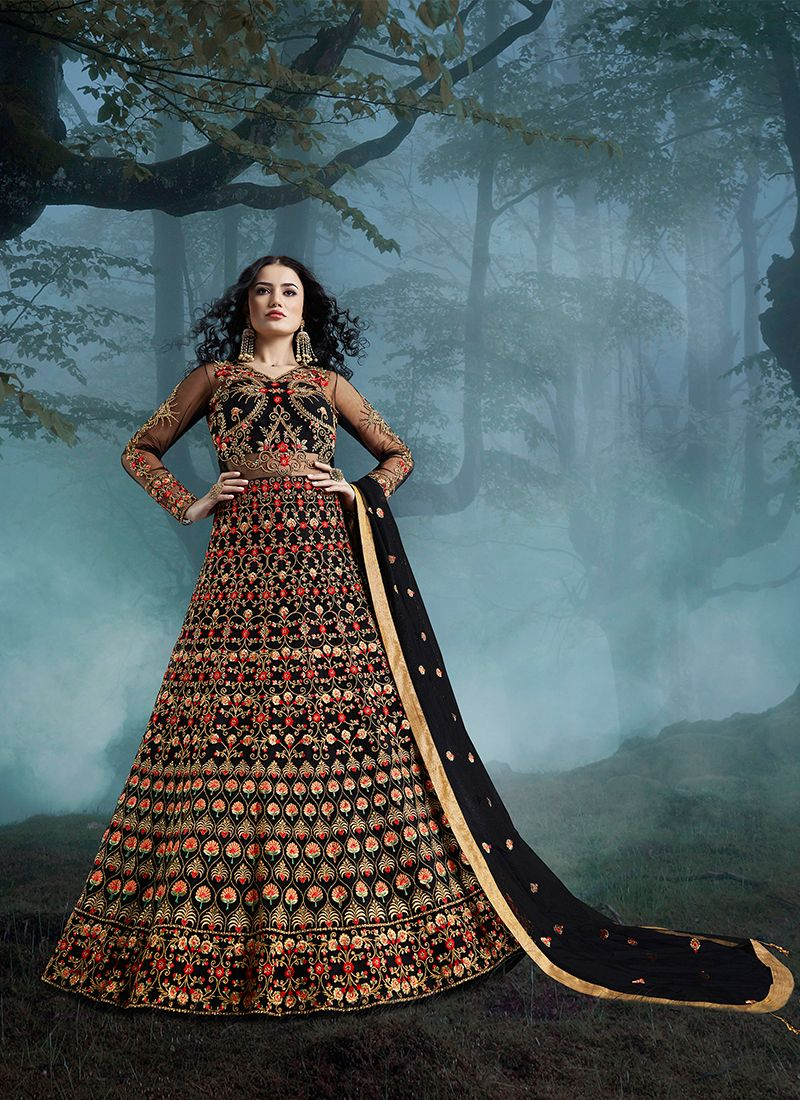 Black Color Floor Length Anarkali Suit