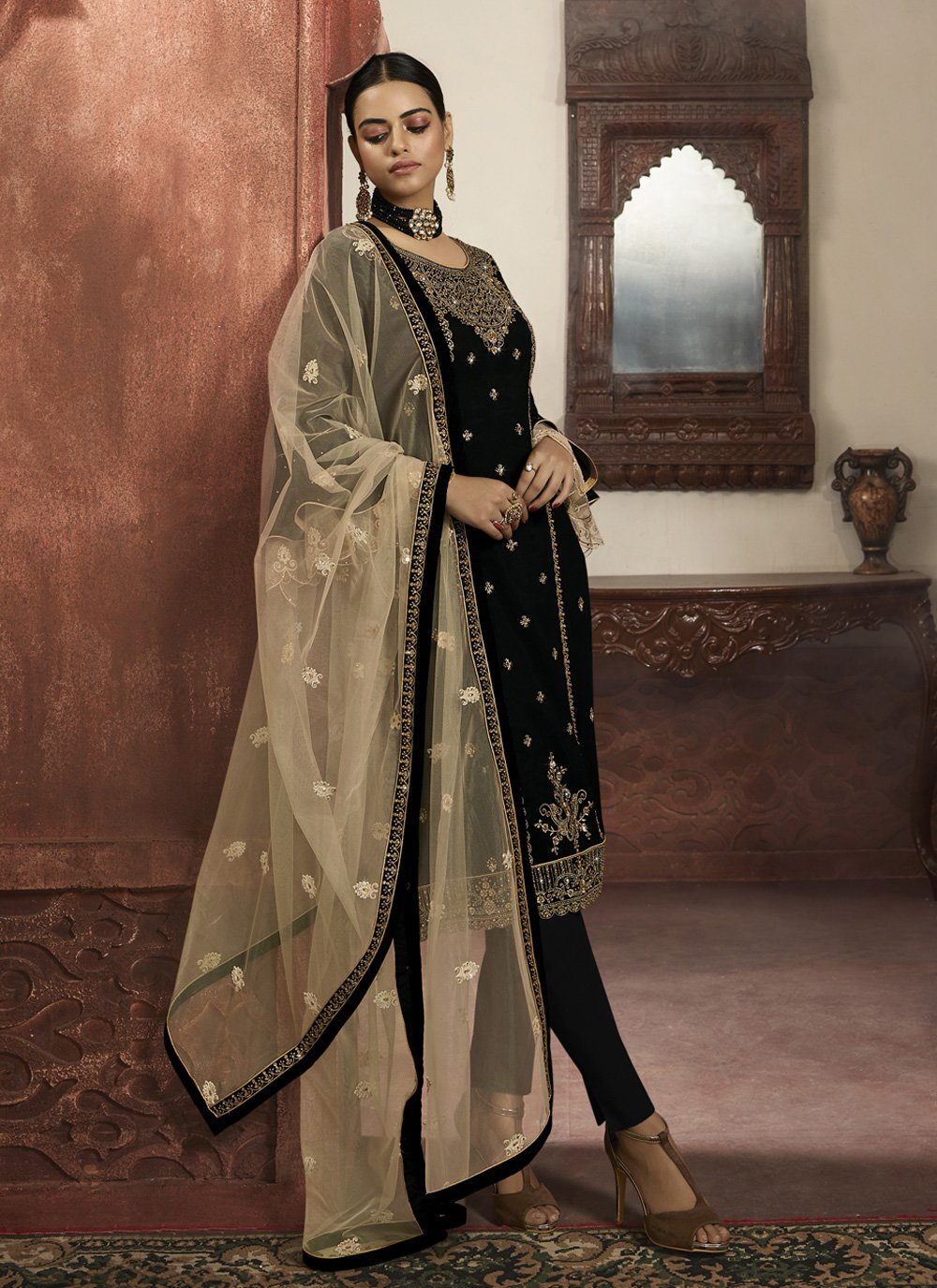 Black Color Readymade Salwar Suit
