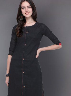 Black Cotton Casual Kurti
