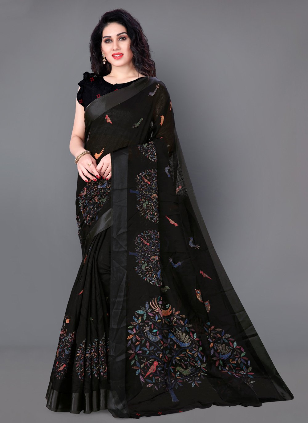 Black Cotton Casual Traditional Saree