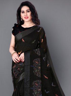 Black Cotton Casual Traditional Saree
