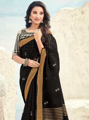 Black Cotton Embroidered Designer Bollywood Saree