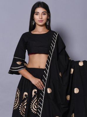 Black Cotton Lehenga Choli