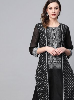 Black Cotton Party Party Wear Kurti