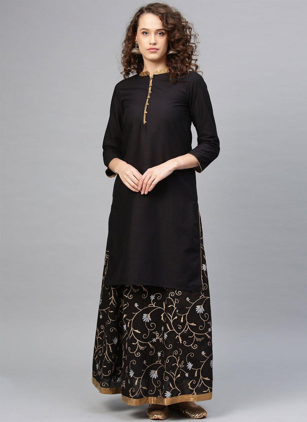Black Cotton Party Wear Kurti