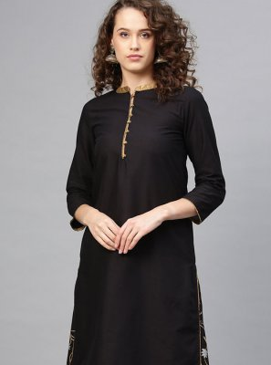 Black Cotton Party Wear Kurti