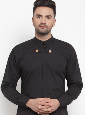 Black Cotton Plain Kurta