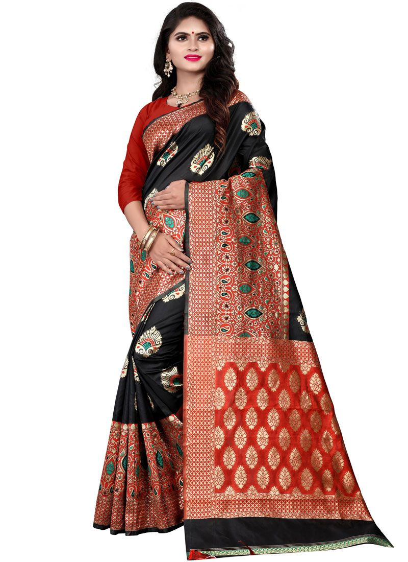 Black Cotton Silk Traditional Saree