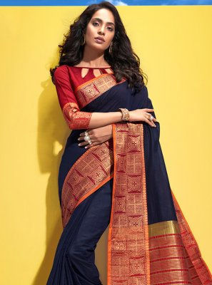 Black Cotton Woven Traditional Saree