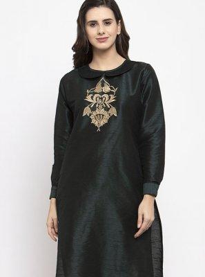 Black Dupion Silk Casual Readymade Salwar Kameez