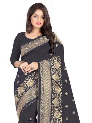 Black Embroidered Art Silk Silk Saree