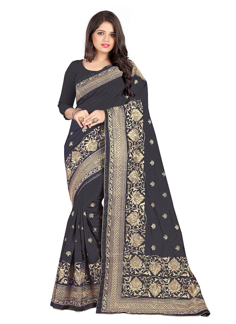 Black Embroidered Art Silk Silk Saree