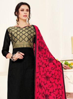 Black Embroidered Banarasi Silk Salwar Kameez