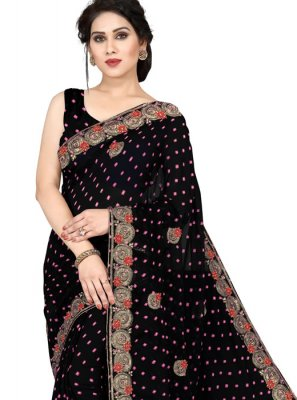 Black Embroidered Casual Saree