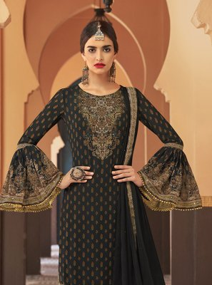 Black Embroidered Designer Palazzo Suit