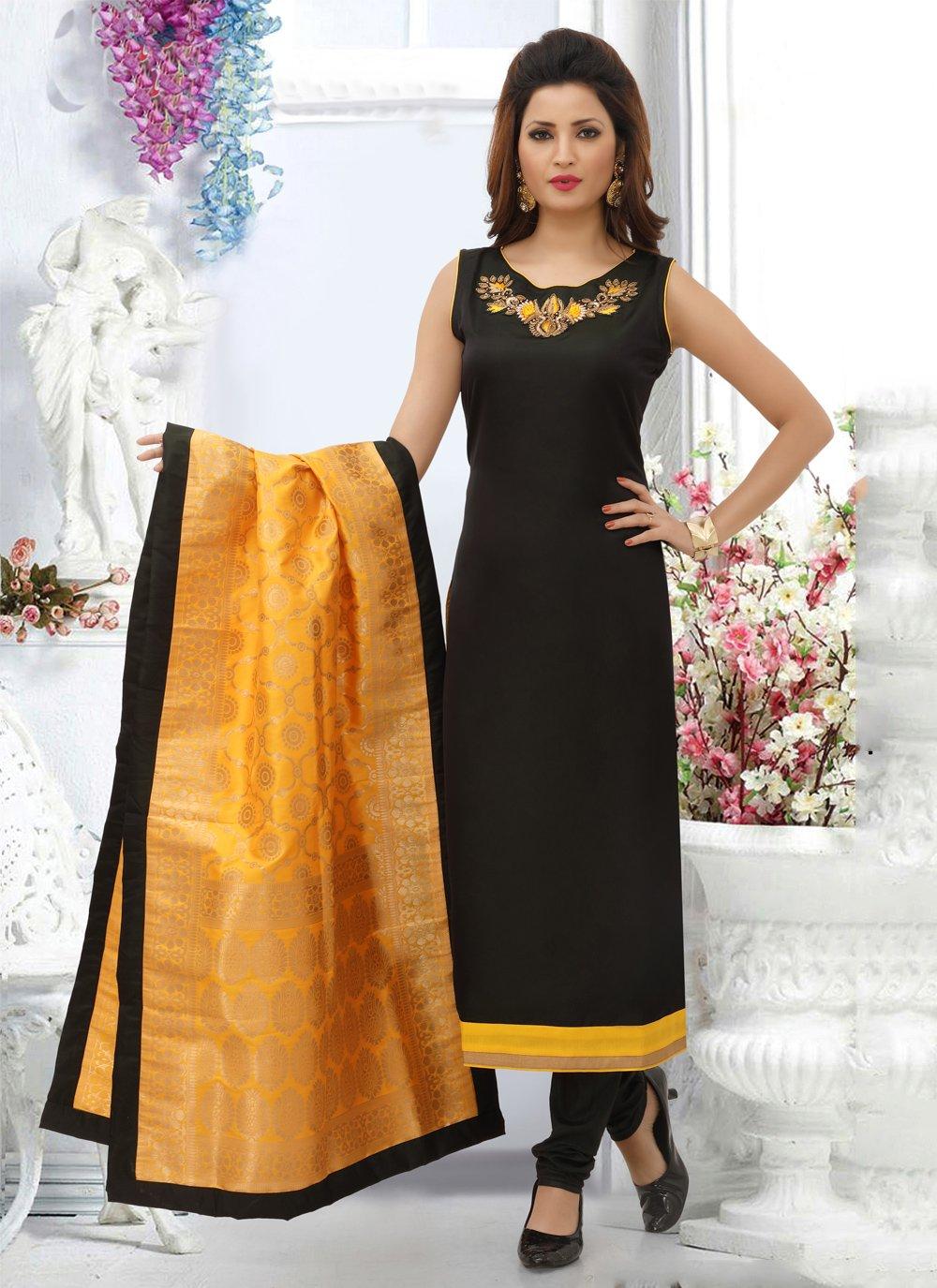 Black Embroidered Designer Straight Salwar Suit