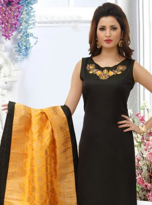 Black Embroidered Designer Straight Salwar Suit