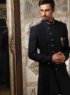 Black Embroidered Engagement Indo Western Sherwani