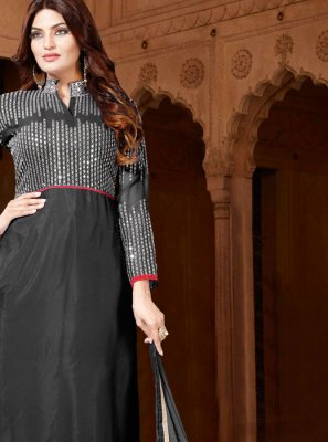 Black Embroidered Faux Georgette Designer Salwar Kameez