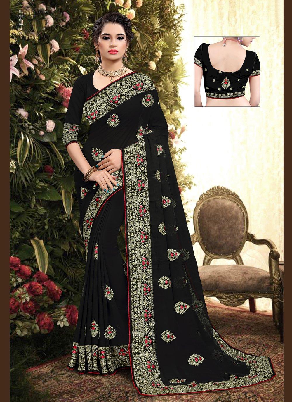 Black Embroidered Georgette Classic Saree