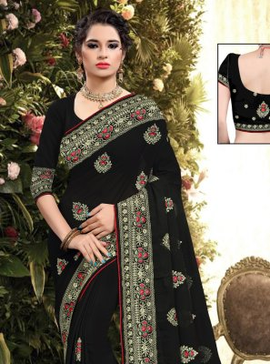 Black Embroidered Georgette Classic Saree