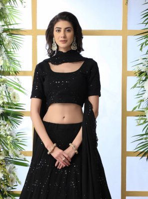 Black Embroidered Georgette Designer Lehenga Choli