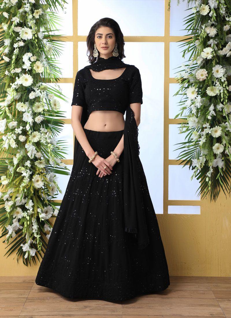Black Embroidered Georgette Designer Lehenga Choli