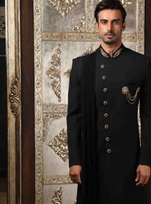 Black Embroidered Indo Western Sherwani