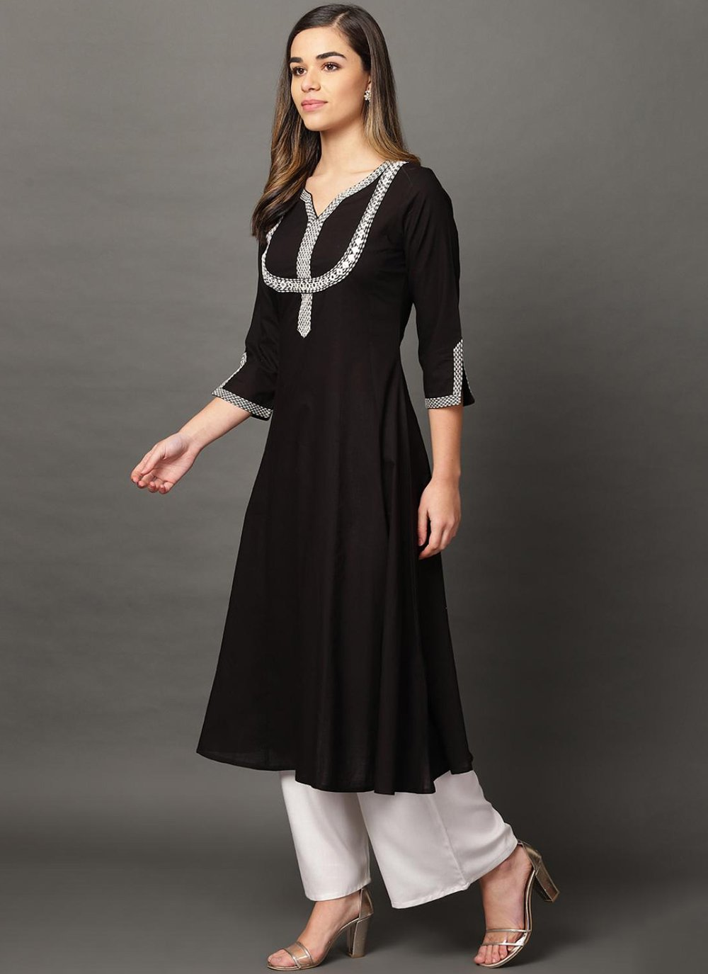 Black Embroidered Party Designer Kurti