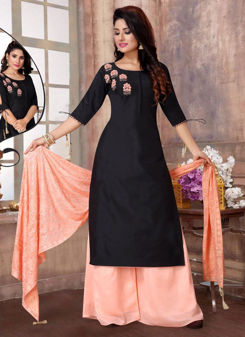 Black Embroidered Readymade Suit