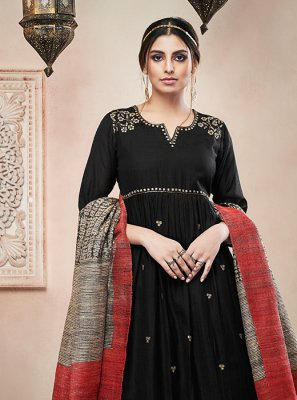 Black Embroidered Reception Designer Palazzo Salwar Suit