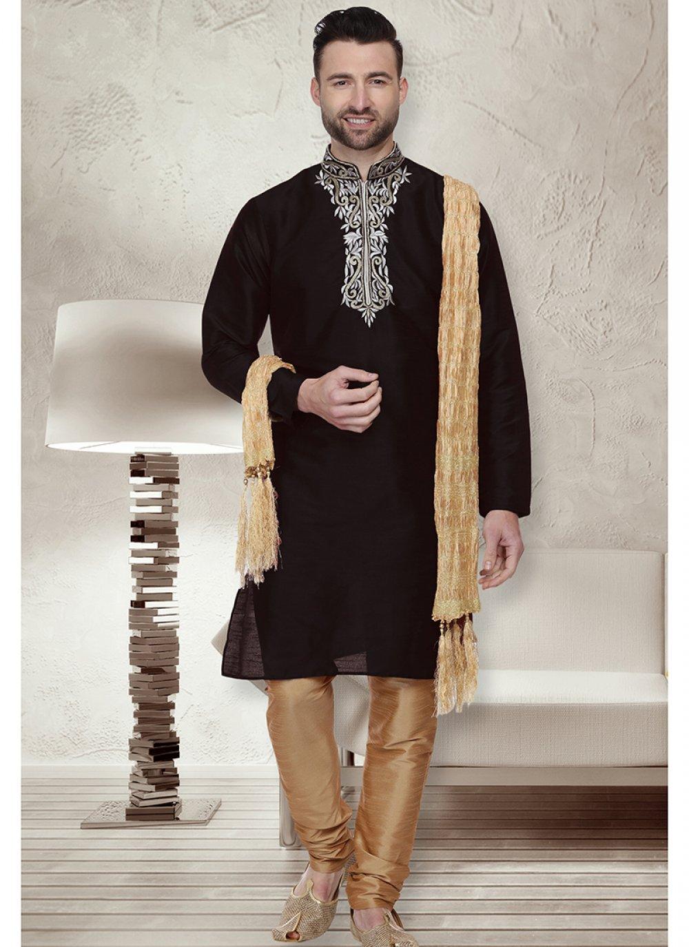 Black Embroidered Sangeet Kurta Pyjama