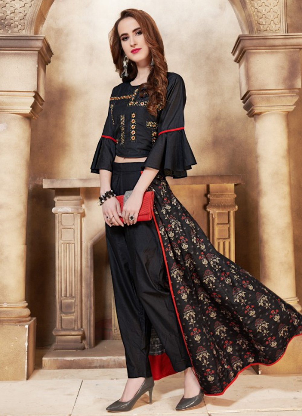 Black Embroidered Silk Casual Kurti