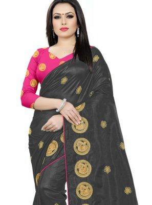 Black Embroidered Silk Classic Saree