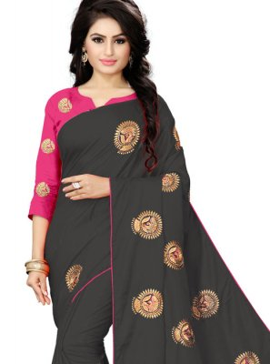 Black Embroidered Silk Classic Saree