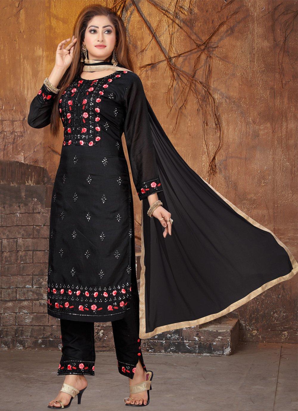 Black Embroidered Trendy Salwar Kameez