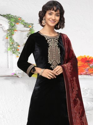 Black Embroidered Velvet Pant Style Suit
