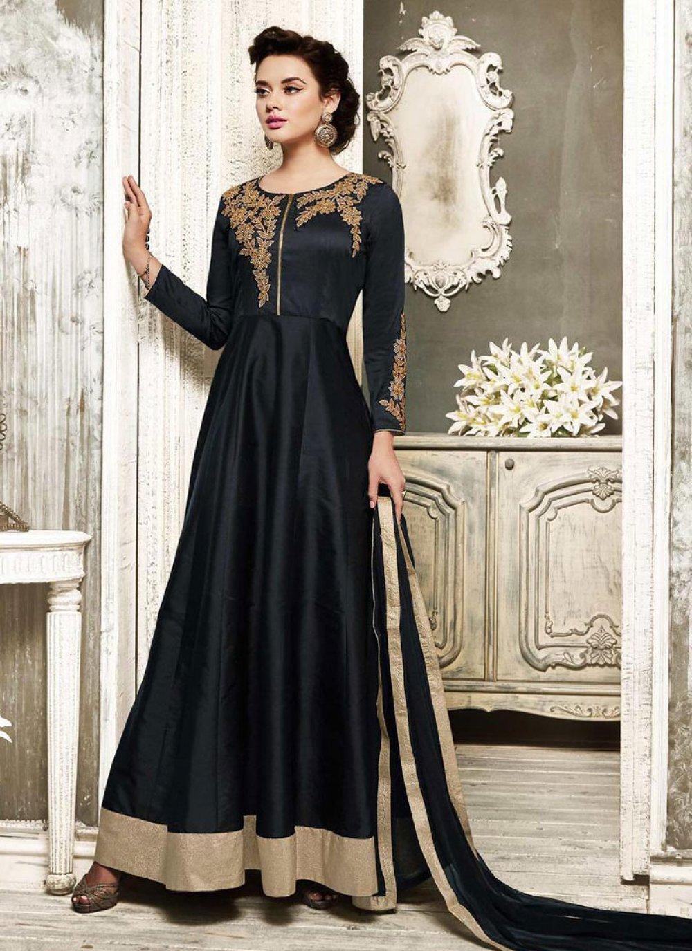 Black Embroidered Wedding Salwar Suit