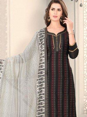 Black Fancy Chanderi Churidar Designer Suit