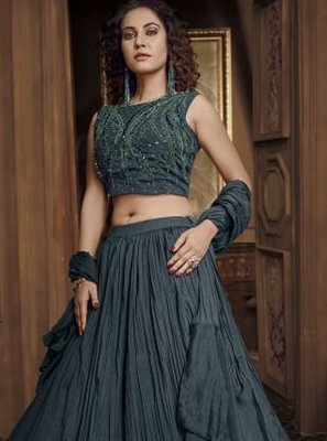 Black Fancy Fabric Reception Designer Lehenga Choli