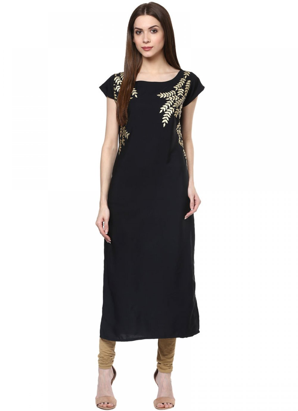 Black Faux Crepe Fancy Casual Kurti