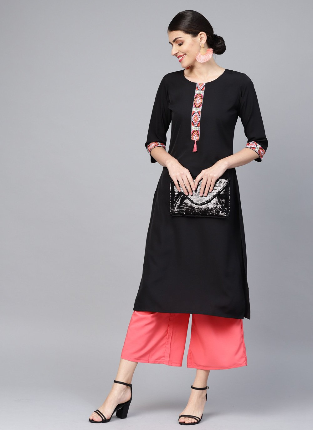 Black Faux Crepe Plain Casual Kurti