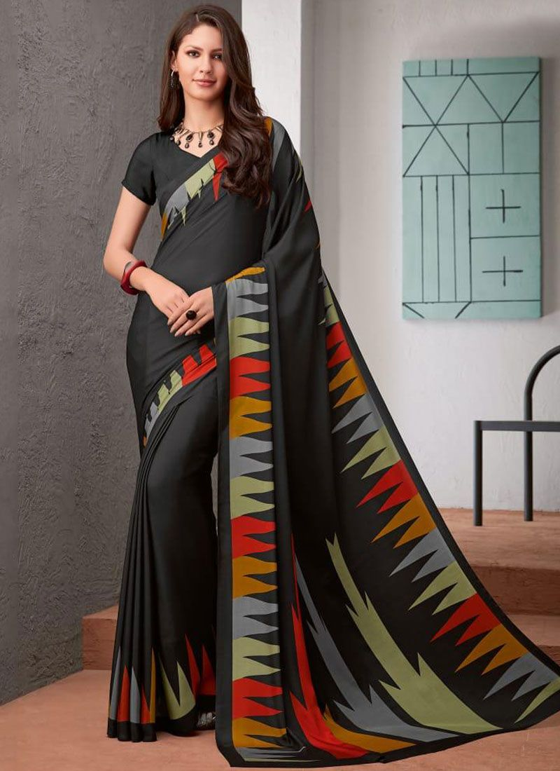 Black Faux Crepe Printed Saree