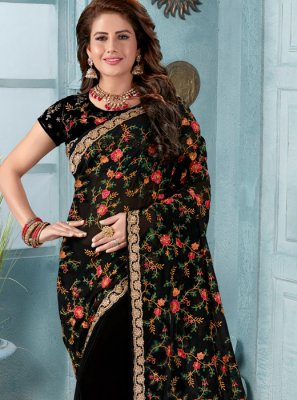 Black Faux Georgette Classic Saree