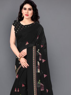 Black Festival Cotton Casual Saree