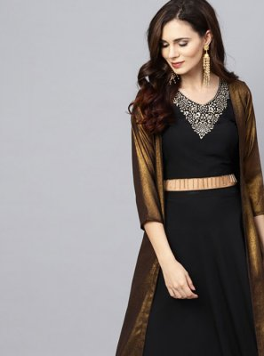 Black Festival Georgette Party Wear Kurti