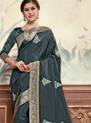 Black Festival Poly Silk Designer Saree
