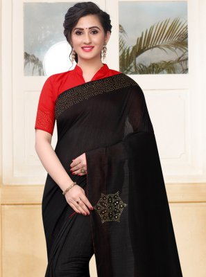 Black Festival Silk Designer Saree